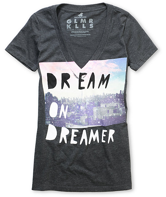 Glamour Kills Dream On Dreamer Skyline Charcoal V-Neck T-Shirt