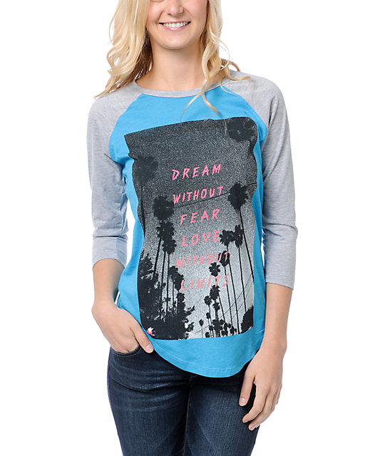 Glamour Kills Dream Without Fear Turquoise & Grey Baseball Tee