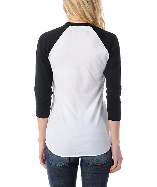 Glamour Kills Drop & Anchor White & Black Baseball Tee