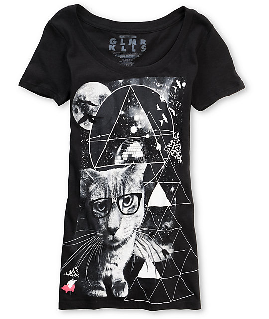 Glamour Kills Dusty The Cat Black Scoop-Neck T-Shirt