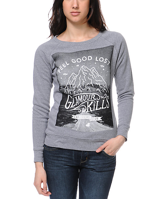 Glamour Kills Explorers Club Grey Crew Neck Sweatshirt
