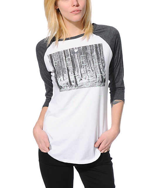 Glamour Kills Feel Good Lost White & Charcoal Baseball Tee