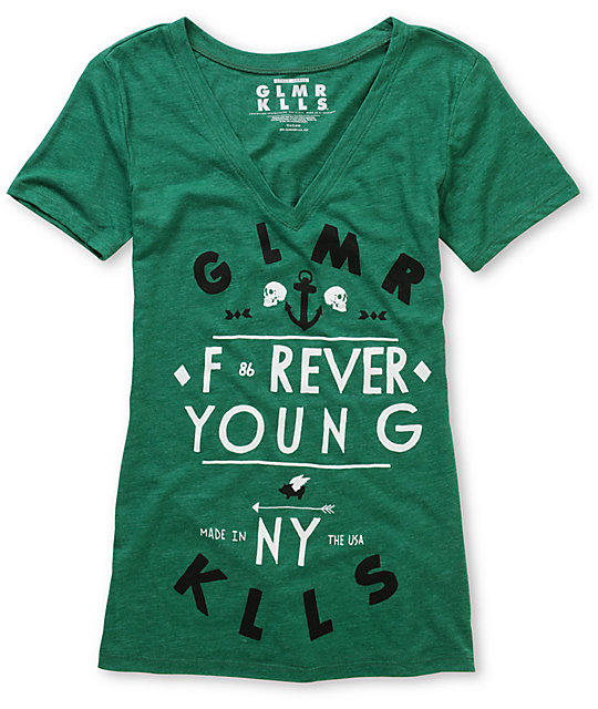 Glamour Kills Forever Young Green V-Neck T-Shirt