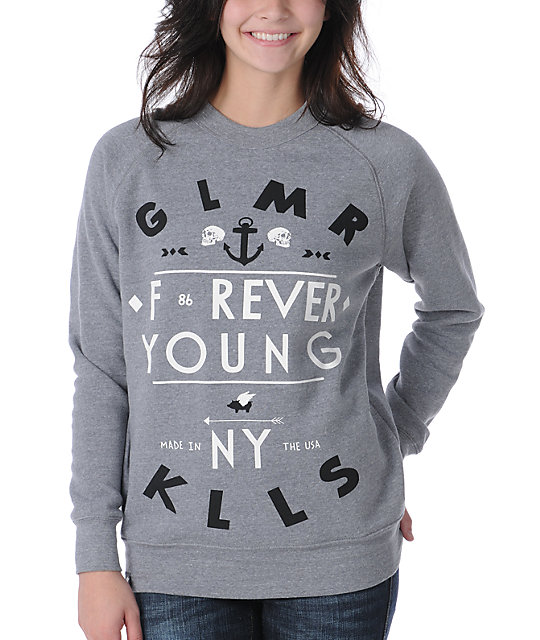 Glamour Kills Forever Young Grey Pullover Sweatshirt