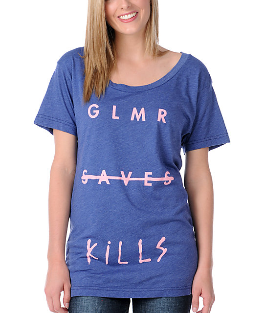 Glamour Kills Glamour Saves Navy Slouchy T-Shirt