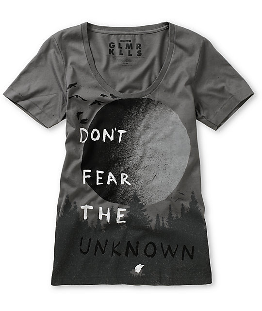 Glamour Kills Have No Fear Grey Scoop Neck T-Shirt