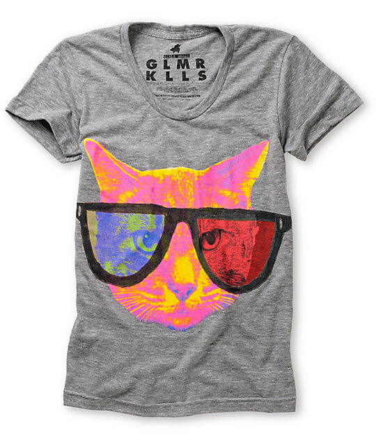 Glamour Kills Infinite Cat 3-D Grey T-Shirt