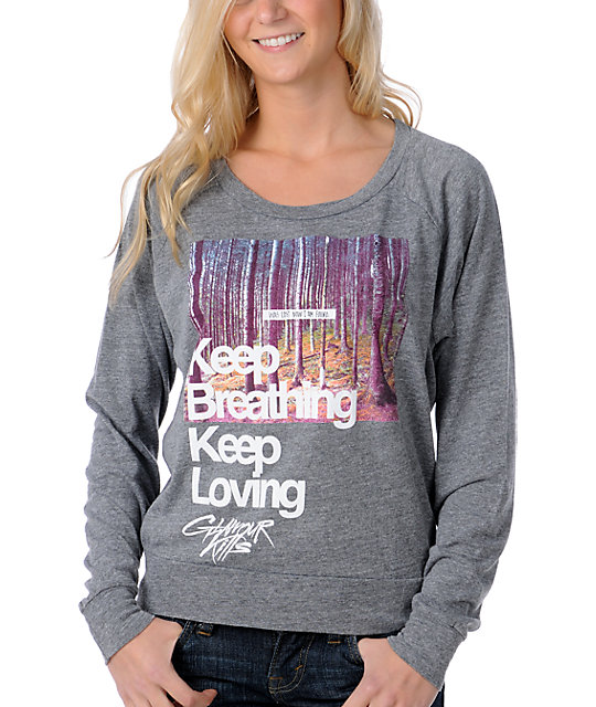 Glamour Kills Keep Breathing Grey Raglan Top