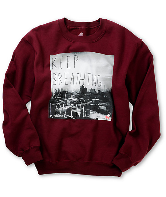 Glamour Kills Keep Breathing Maroon Crew Neck Sweatshirt