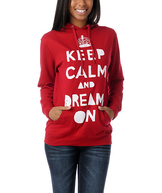 Glamour Kills Keep Calm Red Pullover Hoodie