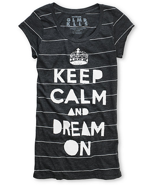 Glamour Kills Keep Calm Stripe Charcoal Scoop Neck T-Shirt