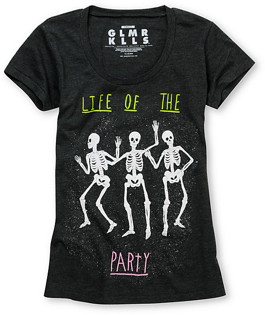 Glamour Kills Life Of The Party Charcoal Scoop Neck T-Shirt