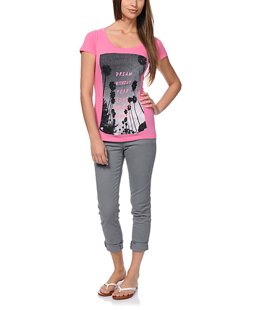 Glamour Kills Limitless Pink Scoop Neck T-Shirt