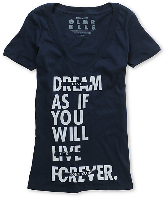 Glamour Kills Live Forever Tomorrow Blue V-Neck T-Shirt