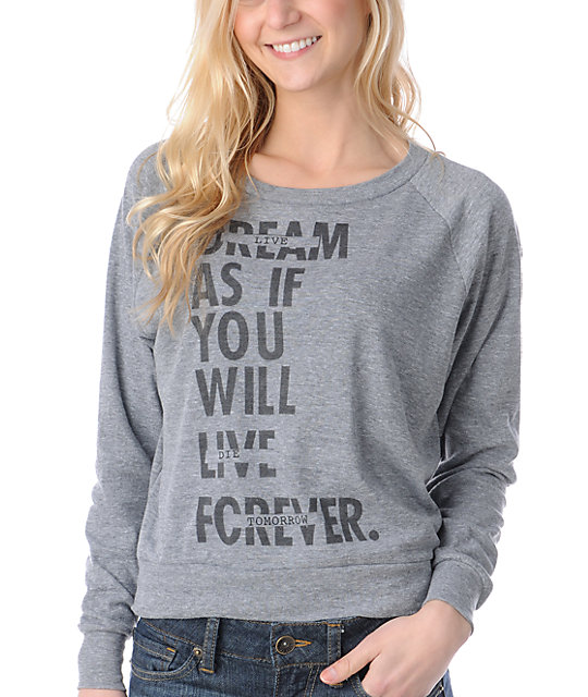 Glamour Kills Live Forever Tomorrow Charcoal Crew Neck Raglan Top