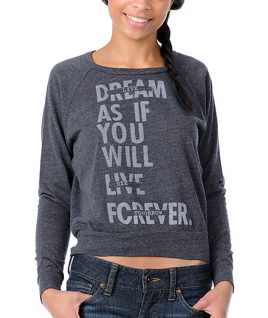 Glamour Kills Live Forever Tomorrow Charcoal Sweatshirt