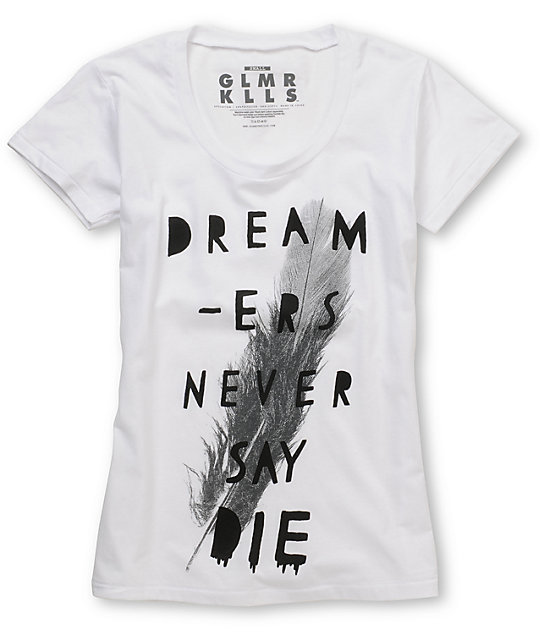 Glamour Kills Never Say Die White Scoop Neck T-Shirt