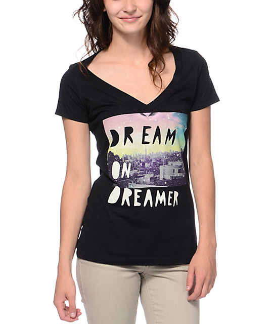 Glamour Kills New Dream On Dreamer Black V-Neck T-Shirt