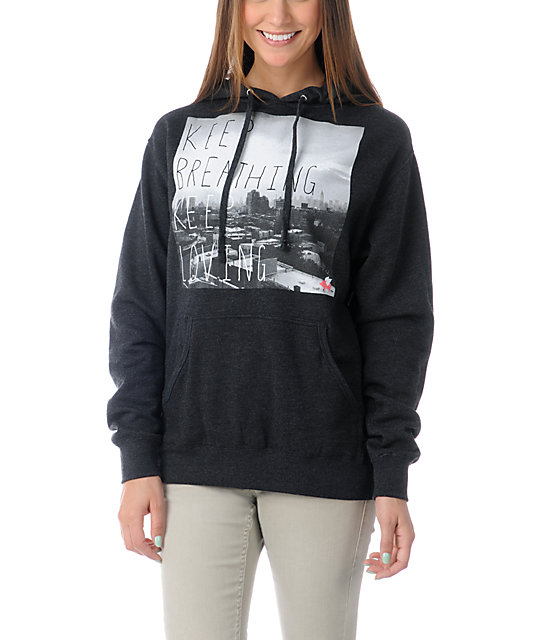 Glamour Kills New Keep Breathing Charcoal Pullover Hoodie