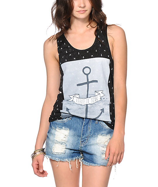 Glamour Kills Refuse To Sink Anchor Print Tank Top