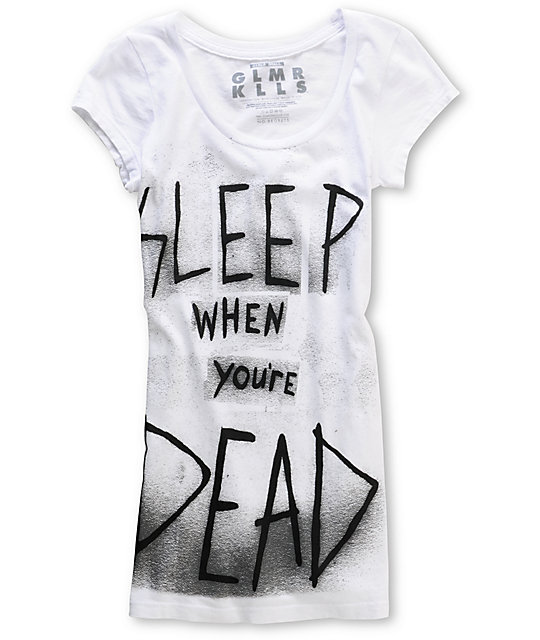 Glamour Kills Sleep Time Scoop-Neck White T-Shirt