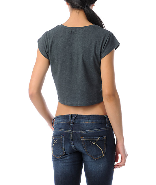 Glamour Kills Stoked Charcoal Grey Crop T-Shirt