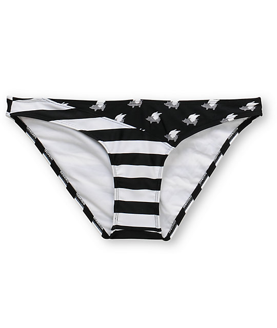 Glamour Kills Striped Glam Black & White Cinch Bikini Bottom