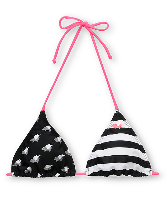 Glamour Kills Striped Pig Black & White Triangle Bikini Top