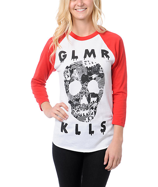 Glamour Kills Sweetest Fracture White & Red Baseball Tee