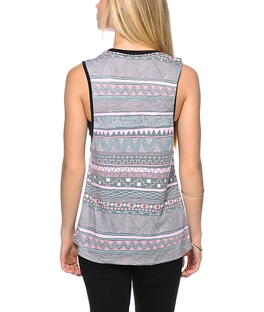 Glamour Kills Tribal Print Muscle Tank Top