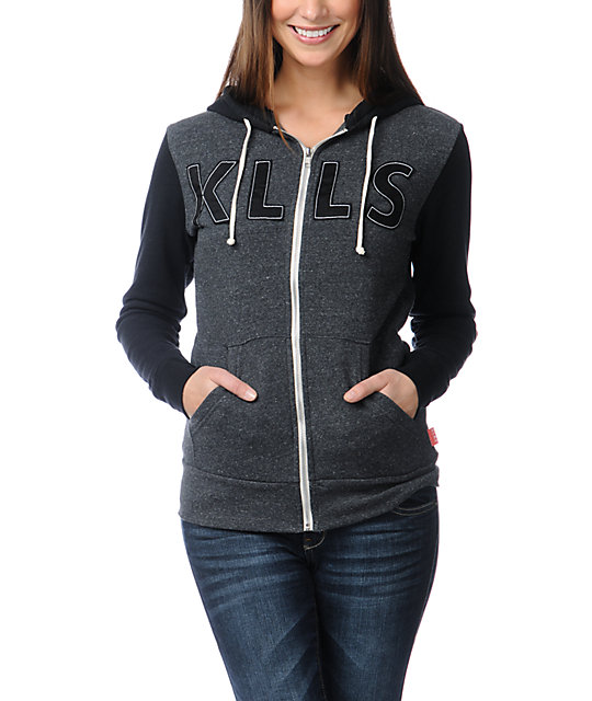 Glamour Kills Tried And true Charcoal & Black Zip Up Hoodie