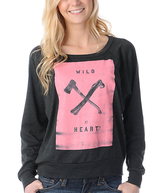 Glamour Kills Wild At Heart Black Crew Neck Raglan Top