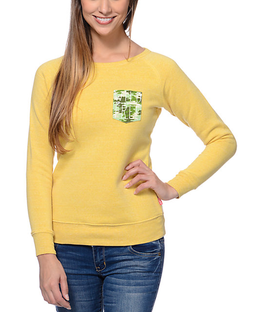 Glamour Kills Wild Free Pocket Yellow Crew Neck Sweatshirt
