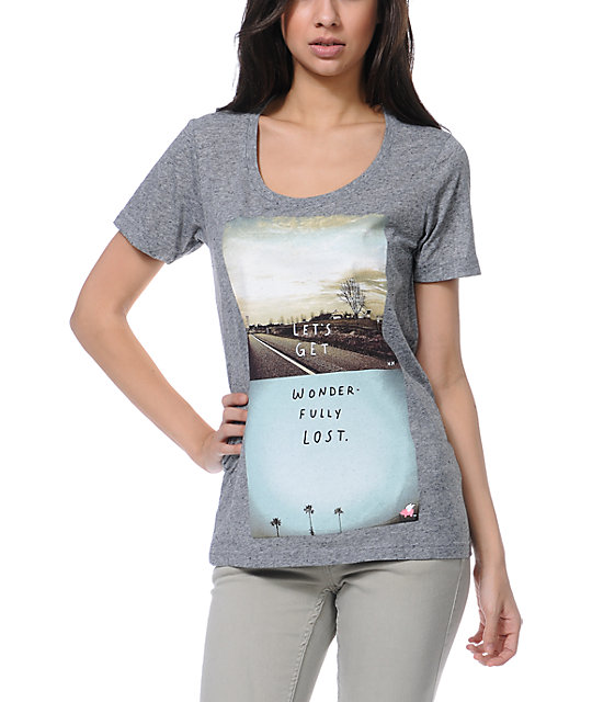 Glamour Kills Wonderfully Lost Heather Grey Scoop Neck T-Shirt