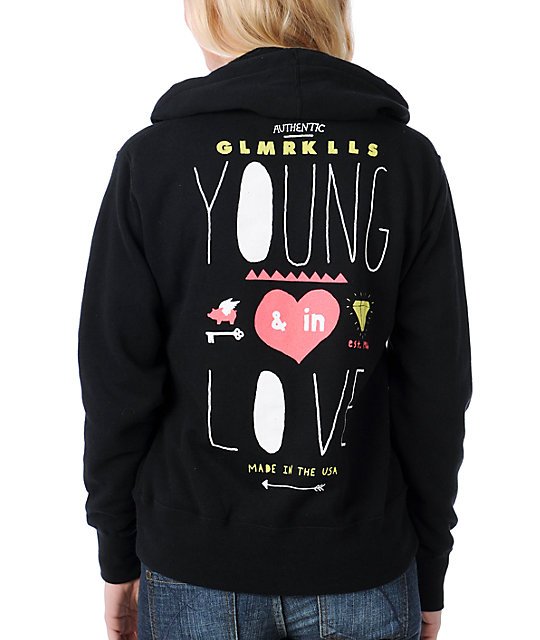 Glamour Kills Young In Love Black Zip Up Hoodie