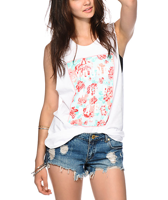 Glamour Kills Young Wild Floral Box Muscle Tank Top