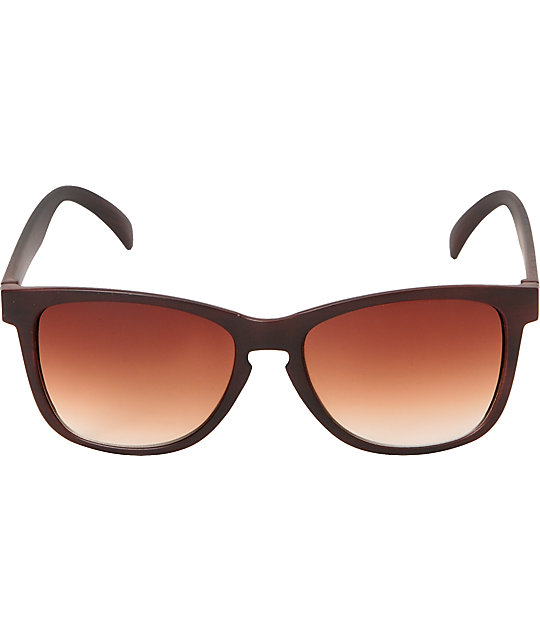 Glassy Deric Matte Wood & Brown Fade Sunglasses