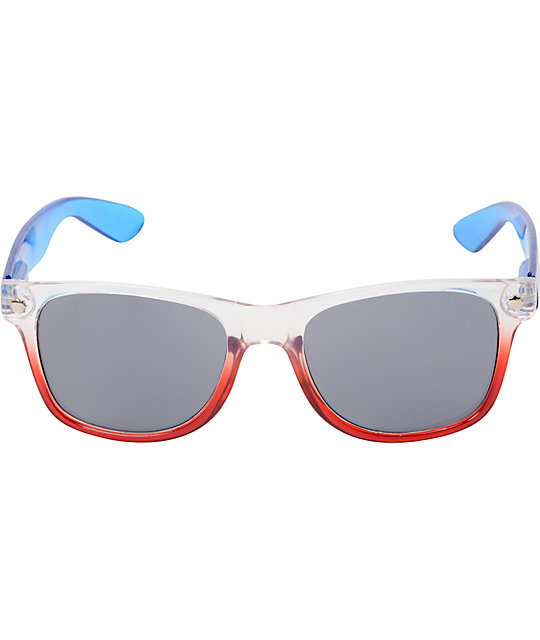 Glassy Leonard Nuclear Red, White, & Blue Clear Sunglasses