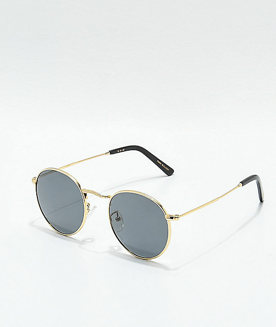 55fd09b33602 Glassy Pierce Round Polarized Gold Sunglasses | Zumiez