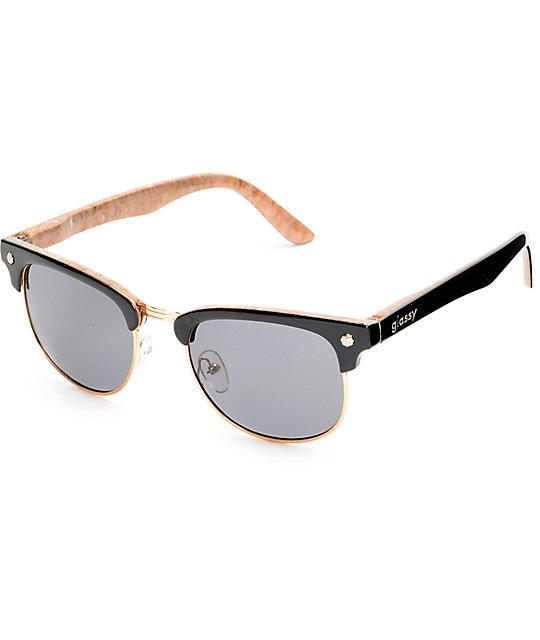 fab82b37ee6 Glassy Sunhaters Morrison Dashawn Black   Cork Polarized Sunglasses ...