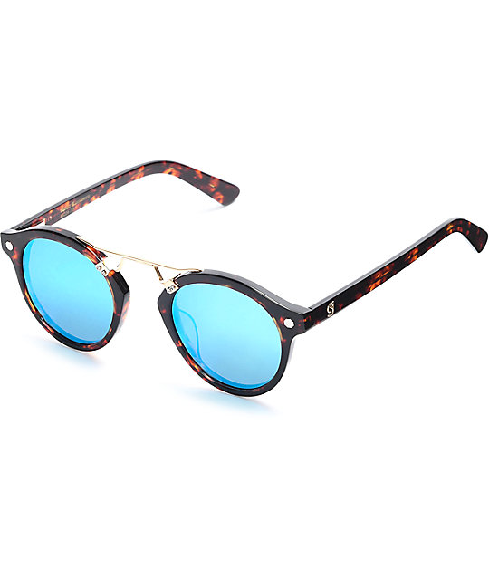 26d275bd0 Glassy Sunhaters Swift Tortoise & Blue Mirrored Polarized Sunglasses    Zumiez