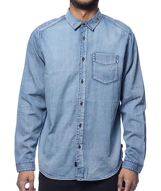 9a7bf8271c7 Globe Goodstock Vintage Light Blue Long Sleeve Button Up Shirt | Zumiez