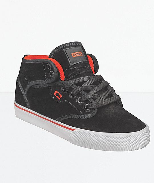 803561c80b3 Globe Kids Motley Mid Black & White Suede Shoes   Zumiez.ca