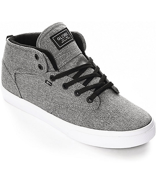 b55e727ef9cc Globe Motley Mid Black   White Chambray Skate Shoes