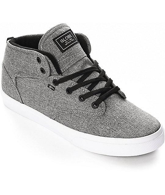 Globe Motley Mid Black & White Chambray Skate Shoes ...