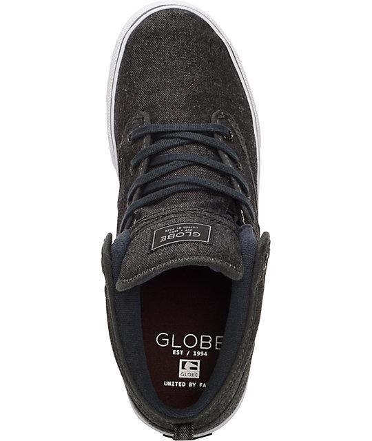 3a8e8b247b9 Globe Motley Mid Black Denim Skate Shoes   Zumiez