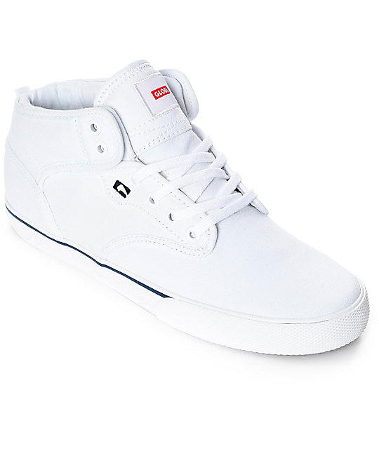 8ca2c41bf833 Globe Motley Mid White Canvas Shoes