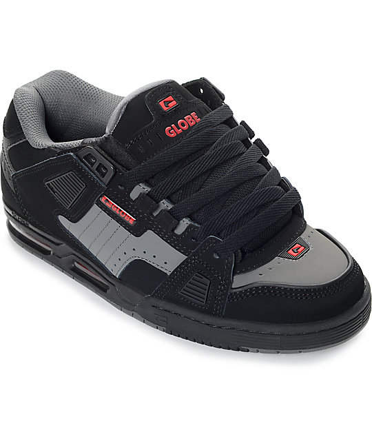 Globe Sabre Black, Pewter & Red Skate Shoes
