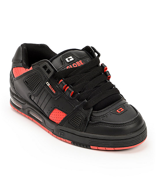 Globe Sabre Black & Fiery Red Skate Shoes ...