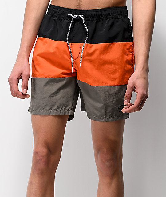 Globe Scope Orange Elastic Waist Board Shorts